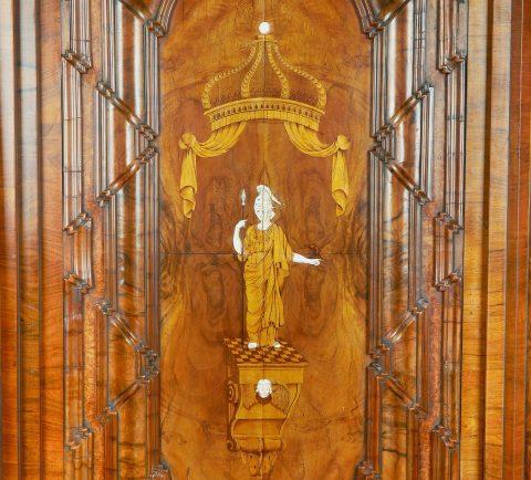 Barockschrank Breslau, Intarsien Tür, Kunsthandel Mühlbauer