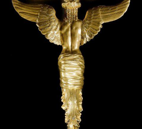 Vergoldeter Bronzetisch Detailabbildung, Bronzefigur Rückansicht, Kunsthandel Mühlbauer