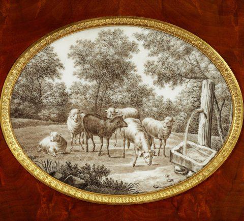 Johannes Klinckerfuß, wiederentdeckter königlicher Schreibtisch, Porzellanplakette, Kunsthandel Mühlbauer