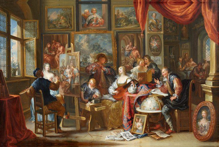 Johann Georg Platzer, im Atelier des Malers, Kunsthandel Mühlbauer
