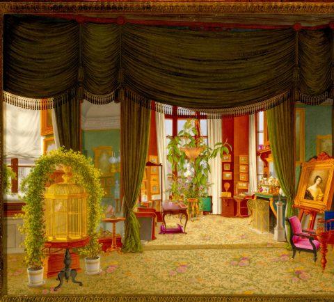 Porzellanplakette mit Ansicht des Grünen Eckzimmer der Prinzessin Elisabeth von Preußen, Kunsthandel Mühlbauer