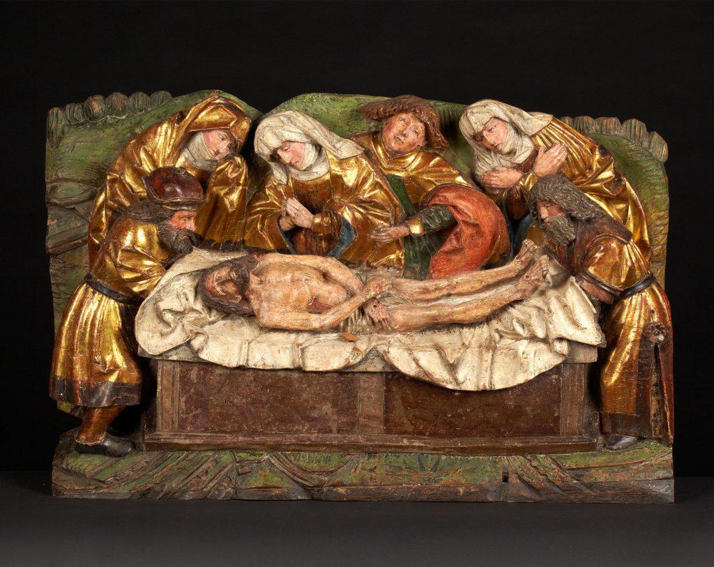 Gotisches Relief mit Darstellung der Grablegung Christi, Kunsthandel Mühlbauer