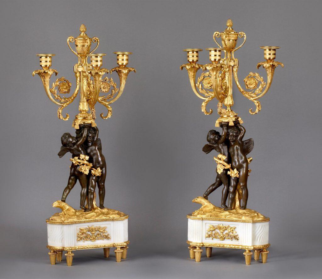 François Rémond, Paar Louis XVI Kandelaber, Kunsthandel Mühlbauer