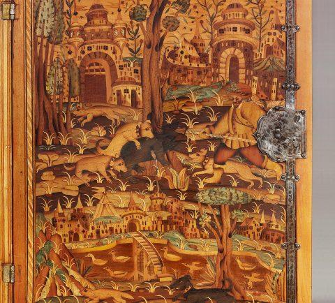 Türinnenseite des Renaissance-Kabinetts mit Jagddarstellung, Kunsthandel Mühlbauer