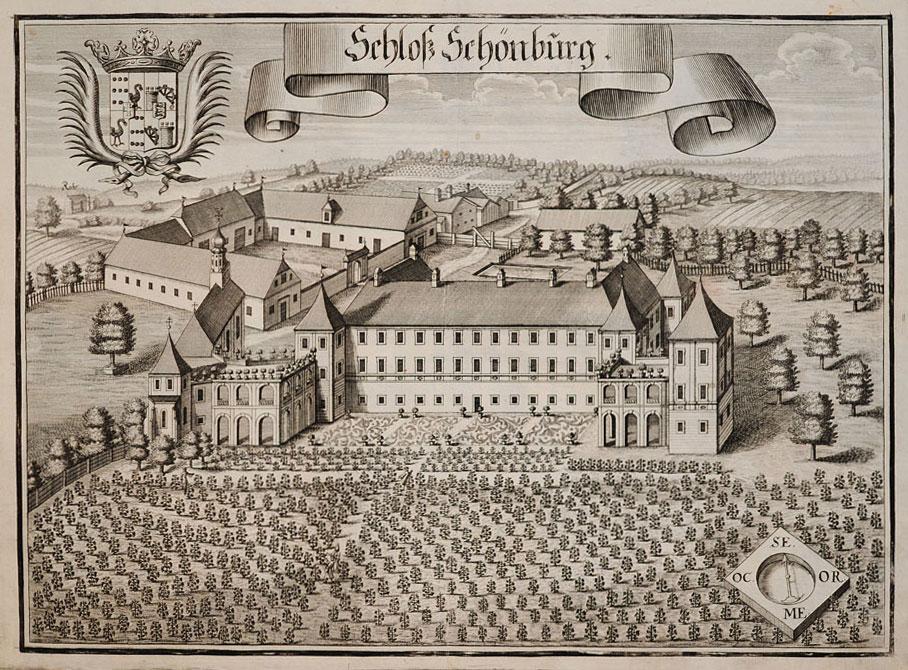 Historischer Stich von Schloß Schönburg