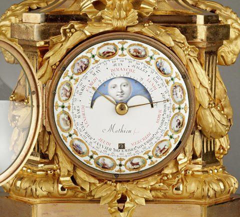 Zifferblatt der Astronomische Louis-XVI Vasen-Pendule, Kunsthandel Mühlbauer