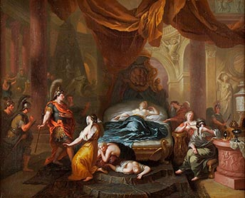 Ottmar Elliger d.J., Kaiser Augustus an Kleopatras Totenbett, Kunsthandel Mühlbauer