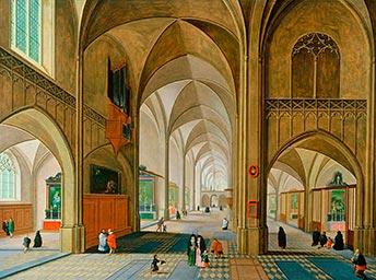 Pieter Neefs der Jüngere, Inners der Kathedrale von Antwerpen, Kunsthandel Mühlbauer