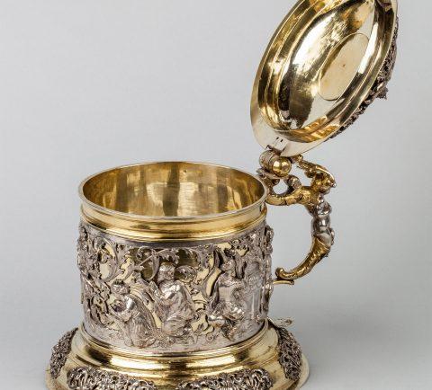 prächtiger Silber-Humpen, geöffnet, Kunsthandel Mühlbauer