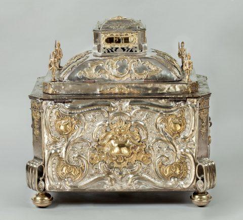 Prunktruhe mit Uhrwerk gefertigt für Fridericus Rex zu Preussen, Rückseite, Kunsthandel Mühlbauer