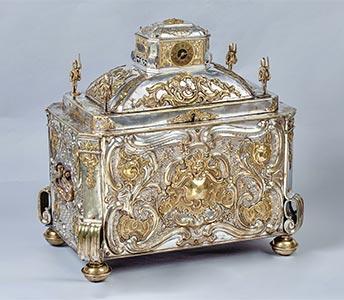 Prunktruhe mit Uhrwerk gefertigt für Fridericus Rex zu Preussen, Kunsthandel Mühlbauer
