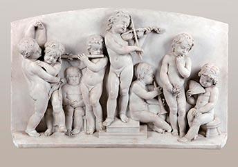 Josef Dressel, Gesamtansicht Marmorrelief Puttenreigen, Kunsthandel Mühlbauer