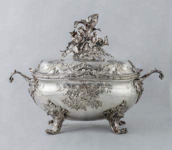 Rokoko Silber-Deckel-Terrine von Gottfried Bartermann, Kunsthandel Mühlbauer